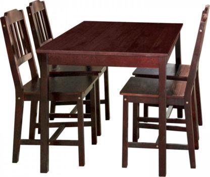 Idea Stůl + 4 židle 8849 tmavohnědý lak