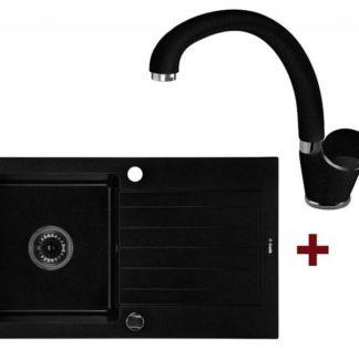 Černý granitový dřez s odkapávačem + baterie model 08