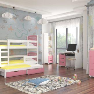 Dětský pokoj s patrovou postelí růžový Dunkeld