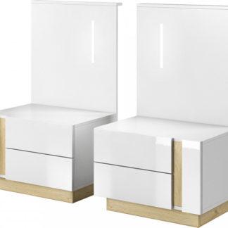Tempo Kondela Dva noční stolky - CITY bílá/dub + kupón KONDELA10 na okamžitou slevu 3% (kupón uplatníte v košíku)