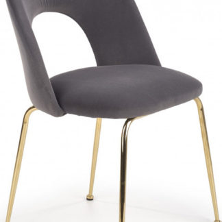 Halmar Jídelní židle K385 - šedá/zlatá