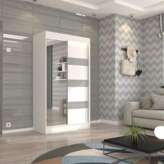 Zrcadlová skříň bílá s šedými pásky 120 cm Burgos
