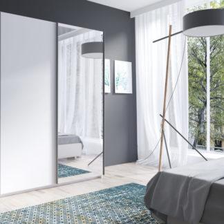 Bílá šatní skříň se zrcadlem Tithali 150 cm