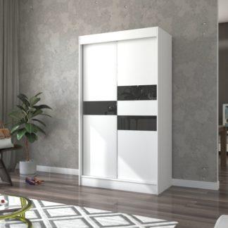 Bílá skříň s černými skly 120 cm Irun