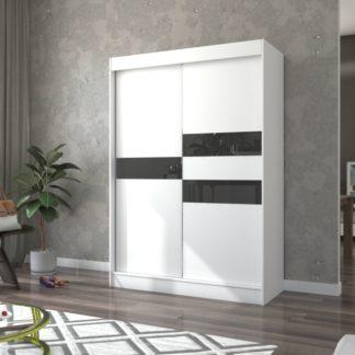 Šatní skříň bílo-černá 150 cm Irun