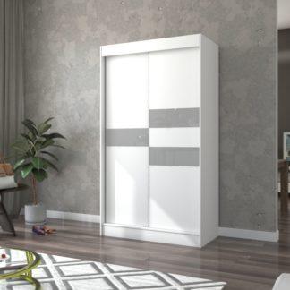 Bílo-šedá úzká skříň do pokoje 120 cm Paterna