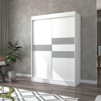 Světlá šatní skříň bílo-šedá 150 cm Paterna