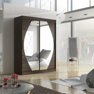 Šatní skříň s posuvnými dveřmi Alisha 150 cm dub čokoládový