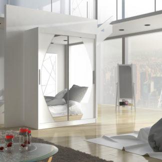 Bílá šatní skříň s posuvnými dveřmi Alisha 150 cm