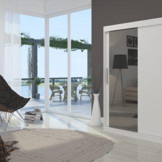 Šatní skříň bílá s posuvnými dveřmi Gobi