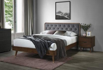 Halmar Manželská postel CASSIDY 160x200 cm - šedá/ořech
